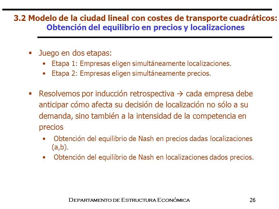 Departamento de Estructura Económica26 Juego en dos etapas: Etapa 1: Empresas eligen simultáneamente localizaciones. Etapa 2: Empresas eligen simultán