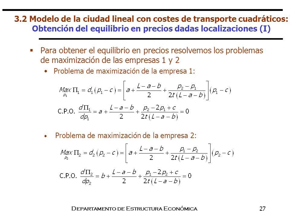 Departamento de Estructura Económica27 Para obtener el equilibrio en precios resolvemos los problemas de maximización de las empresas 1 y 2 Problema d