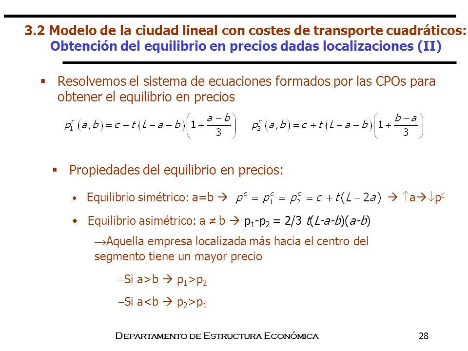 Departamento de Estructura Económica28 Resolvemos el sistema de ecuaciones formados por las CPOs para obtener el equilibrio en precios Propiedades del