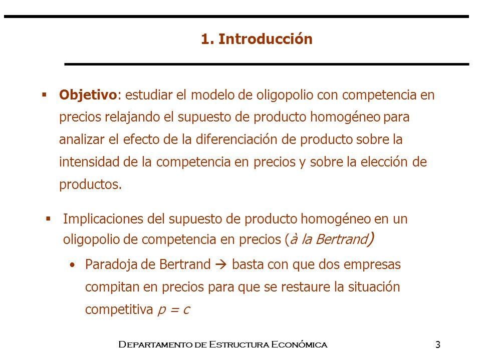 Departamento de Estructura Económica3 1. Introducción Implicaciones del supuesto de producto homogéneo en un oligopolio de competencia en precios (à l