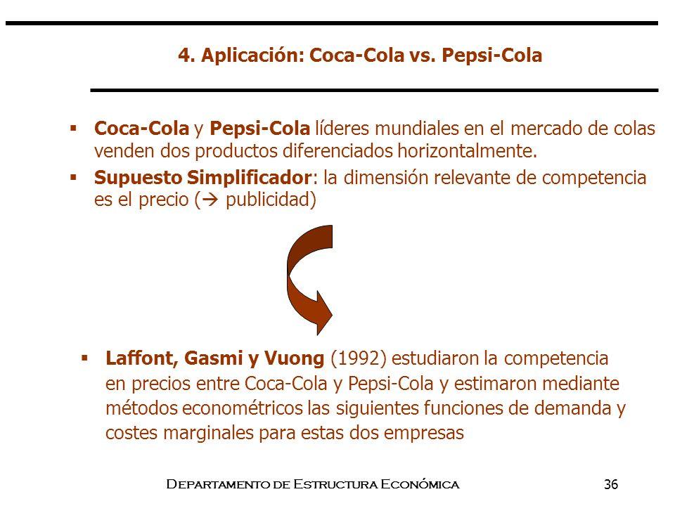 Departamento de Estructura Económica36 4. Aplicación: Coca-Cola vs. Pepsi-Cola Coca-Cola y Pepsi-Cola líderes mundiales en el mercado de colas venden