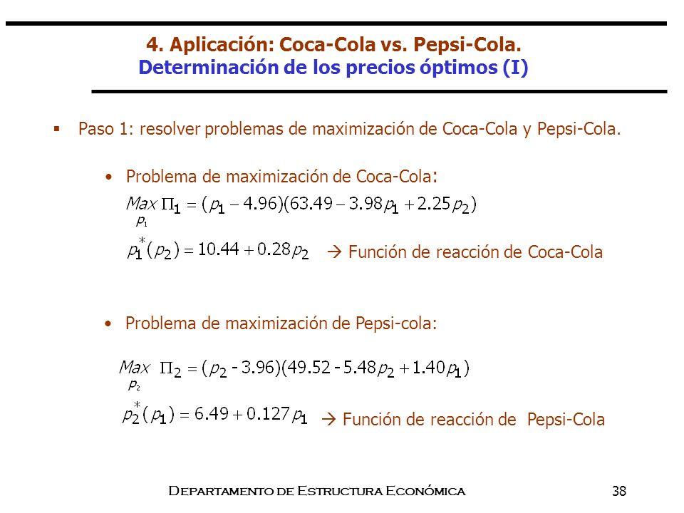 Departamento de Estructura Económica38 Paso 1: resolver problemas de maximización de Coca-Cola y Pepsi-Cola. Problema de maximización de Coca-Cola : F