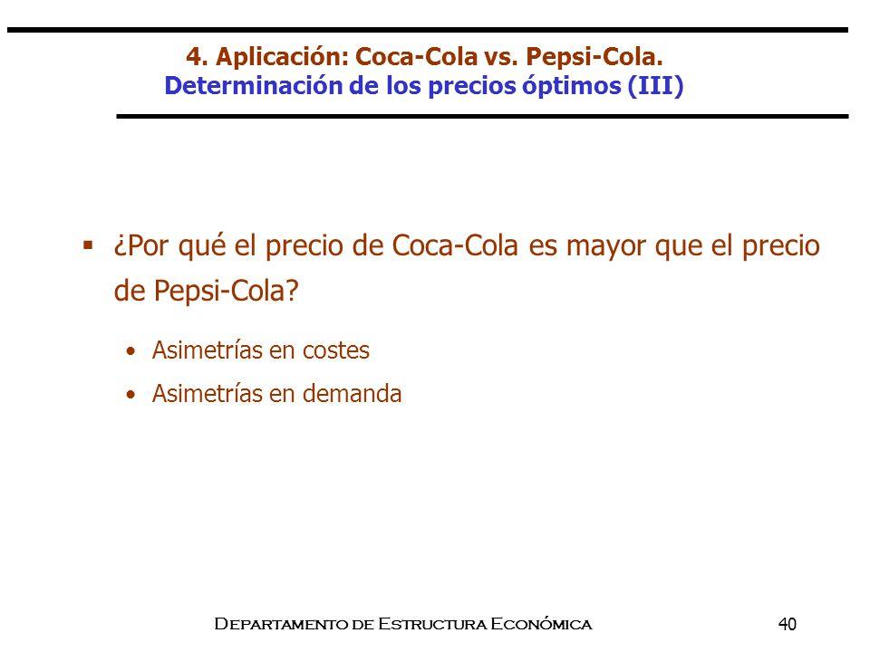 Departamento de Estructura Económica40 ¿Por qué el precio de Coca-Cola es mayor que el precio de Pepsi-Cola? 4. Aplicación: Coca-Cola vs. Pepsi-Cola.