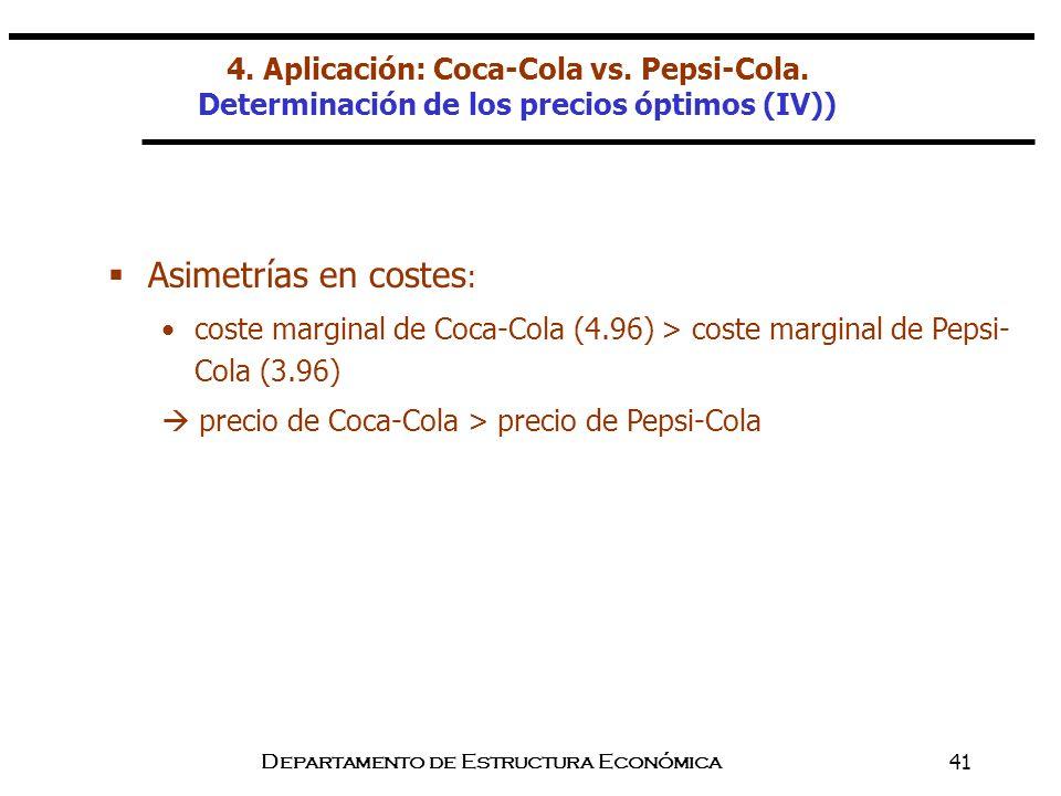 Departamento de Estructura Económica41 Asimetrías en costes : coste marginal de Coca-Cola (4.96) > coste marginal de Pepsi- Cola (3.96) precio de Coca