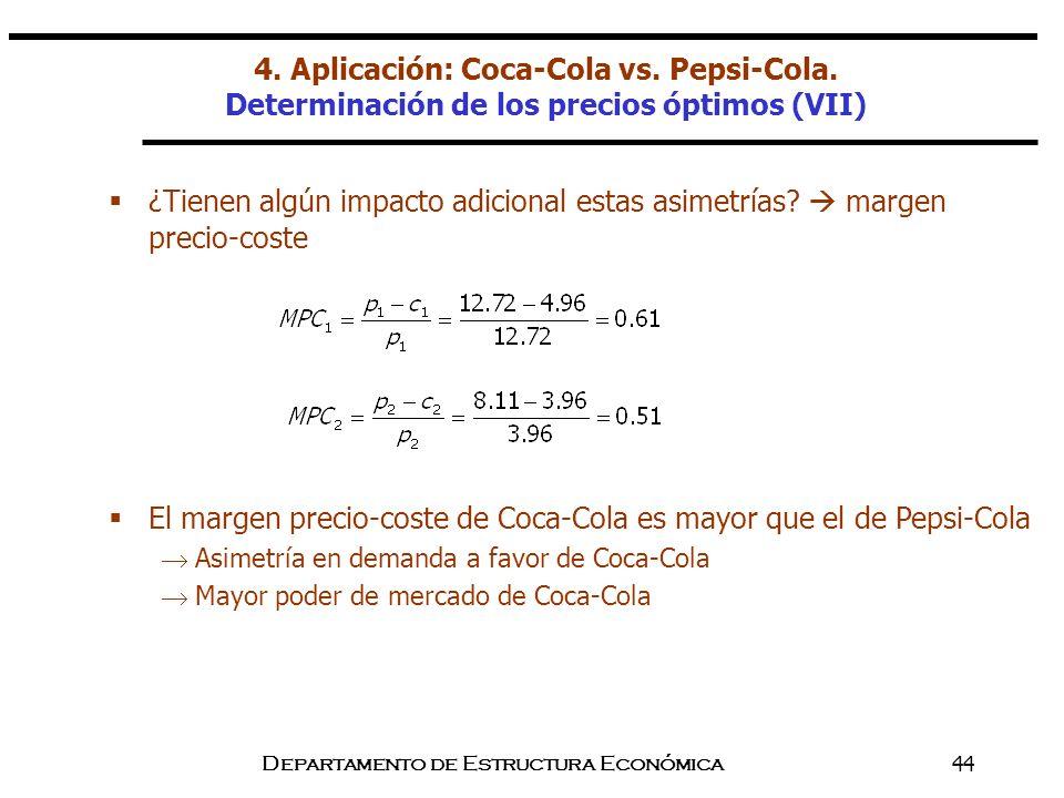Departamento de Estructura Económica44 ¿Tienen algún impacto adicional estas asimetrías? margen precio-coste El margen precio-coste de Coca-Cola es ma