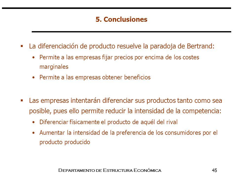 Departamento de Estructura Económica45 La diferenciación de producto resuelve la paradoja de Bertrand: Permite a las empresas fijar precios por encima