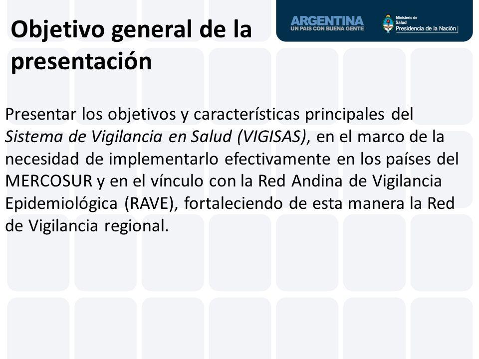 Objetivo general de la presentación Presentar los objetivos y características principales del Sistema de Vigilancia en Salud (VIGISAS), en el marco de