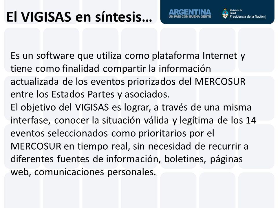El VIGISAS en síntesis… Es un software que utiliza como plataforma Internet y tiene como finalidad compartir la información actualizada de los eventos