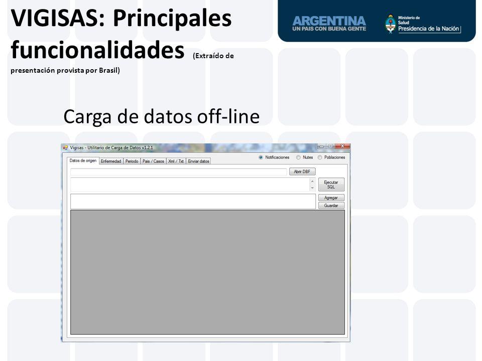 VIGISAS: Principales funcionalidades (Extraído de presentación provista por Brasil) Entrada al sistema...