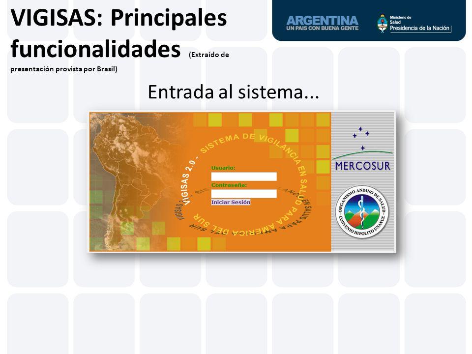 VIGISAS: Principales funcionalidades (Extraído de presentación provista por Brasil) Consolidación país/año Selecciones disponibles: Eventos priorizados Eventos por país hasta NUTE 2 (Estado/Provincia)