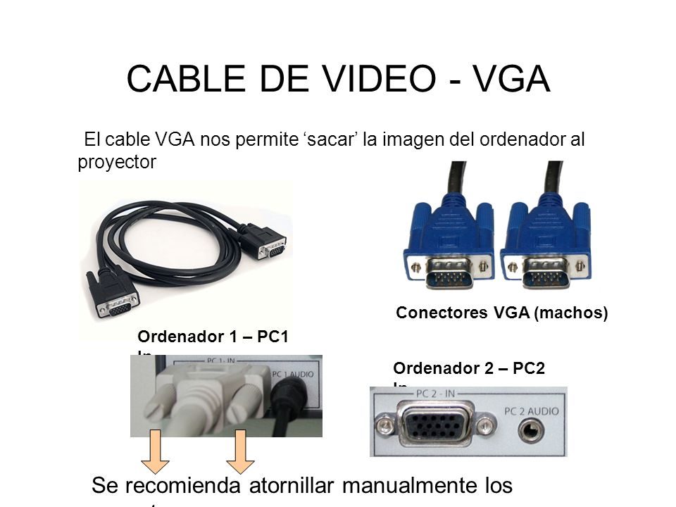 Hay que tener la precaución de hacer coincidir la forma del conector macho (del cable) con la forma del conector hembra (de la caja o del portátil) Se trata de una forma de trapecio o No es simétrica, por lo que si se fuerza se pueden romper los pins o pinchos del conector VGA, dando lugar a fallos de señal y color Para Mac es necesario un adaptador para conector VGA