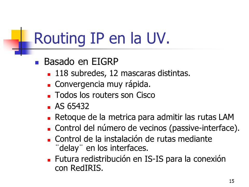 15 Routing IP en la UV. Basado en EIGRP 118 subredes, 12 mascaras distintas. Convergencia muy rápida. Todos los routers son Cisco AS 65432 Retoque de
