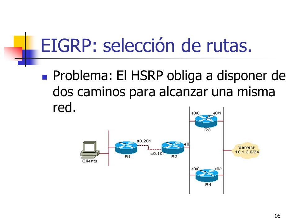 16 EIGRP: selección de rutas. Problema: El HSRP obliga a disponer de dos caminos para alcanzar una misma red.