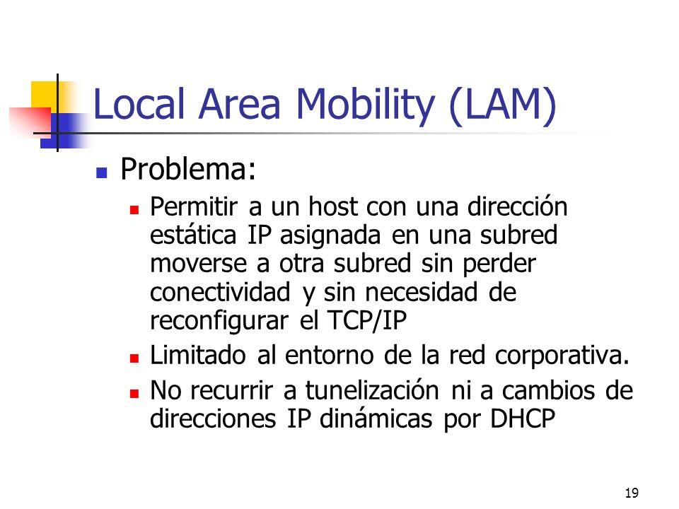 19 Local Area Mobility (LAM) Problema: Permitir a un host con una dirección estática IP asignada en una subred moverse a otra subred sin perder conect