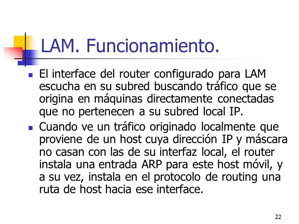 22 LAM. Funcionamiento. El interface del router configurado para LAM escucha en su subred buscando tráfico que se origina en máquinas directamente con