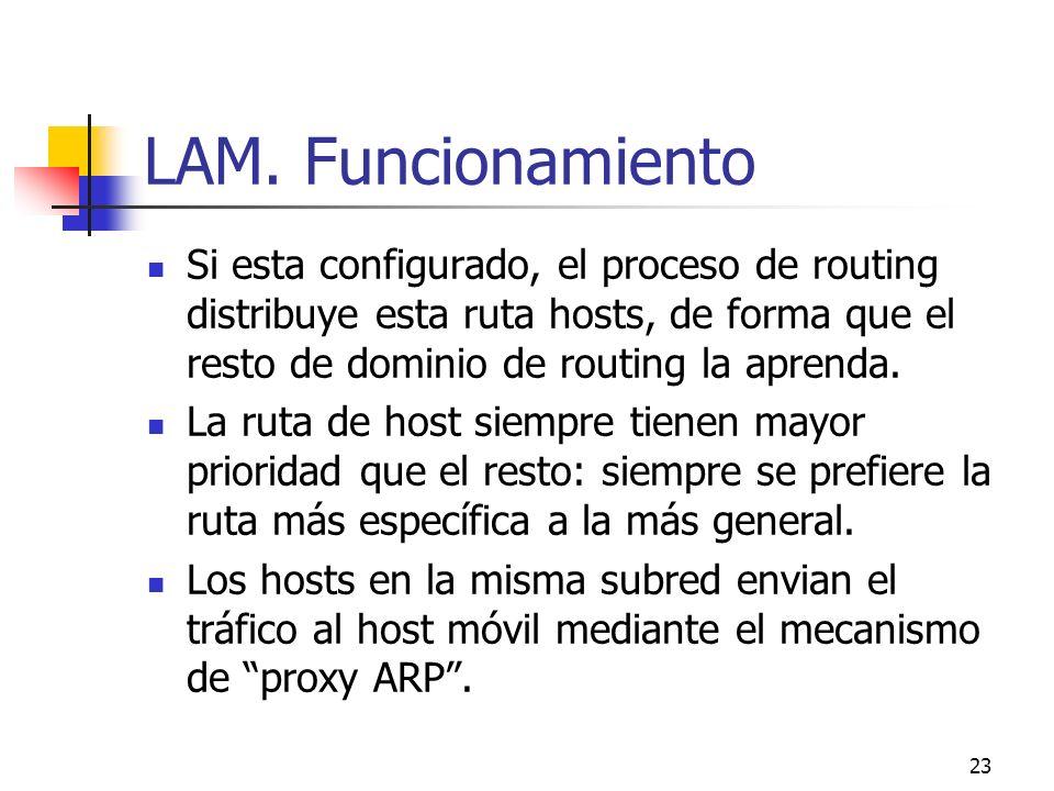 23 LAM. Funcionamiento Si esta configurado, el proceso de routing distribuye esta ruta hosts, de forma que el resto de dominio de routing la aprenda.