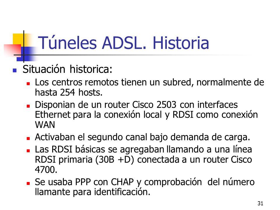 31 Túneles ADSL. Historia Situación historica: Los centros remotos tienen un subred, normalmente de hasta 254 hosts. Disponian de un router Cisco 2503