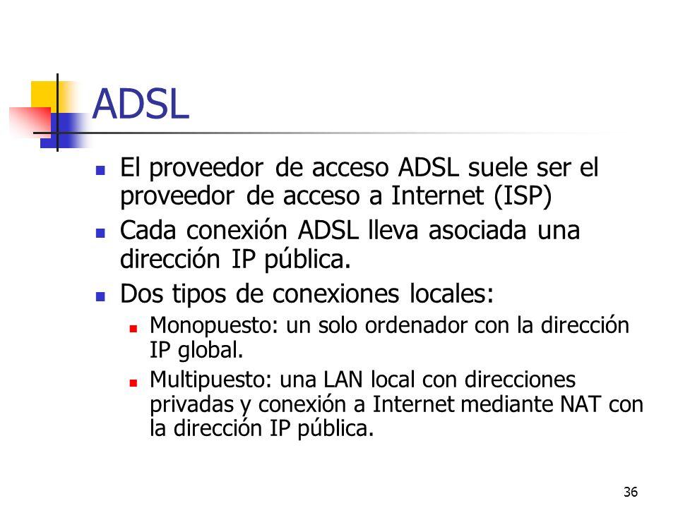 36 ADSL El proveedor de acceso ADSL suele ser el proveedor de acceso a Internet (ISP) Cada conexión ADSL lleva asociada una dirección IP pública. Dos