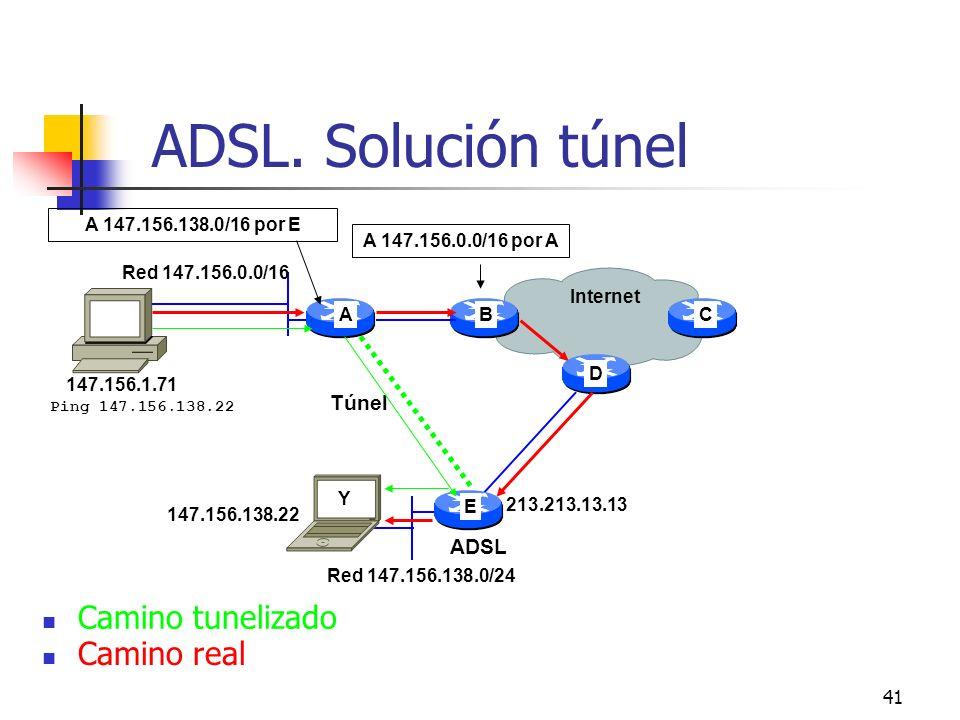 41 ADSL. Solución túnel 147.156.138.22 A 147.156.0.0/16 por A A E CB Internet Red 147.156.0.0/16 Red 147.156.138.0/24 Y D 213.213.13.13 Ping 147.156.1