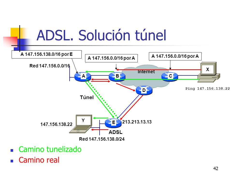 42 ADSL. Solución túnel 147.156.138.22 A 147.156.0.0/16 por A A E CB Internet A 147.156.0.0/16 por A Red 147.156.0.0/16 Red 147.156.138.0/24 X Y D 213