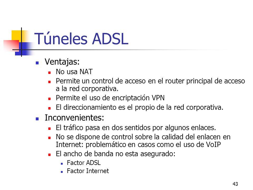43 Túneles ADSL Ventajas: No usa NAT Permite un control de acceso en el router principal de acceso a la red corporativa. Permite el uso de encriptació