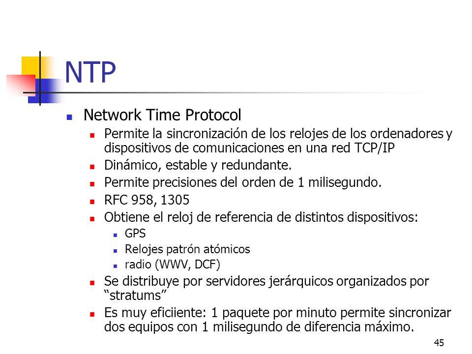 45 NTP Network Time Protocol Permite la sincronización de los relojes de los ordenadores y dispositivos de comunicaciones en una red TCP/IP Dinámico,