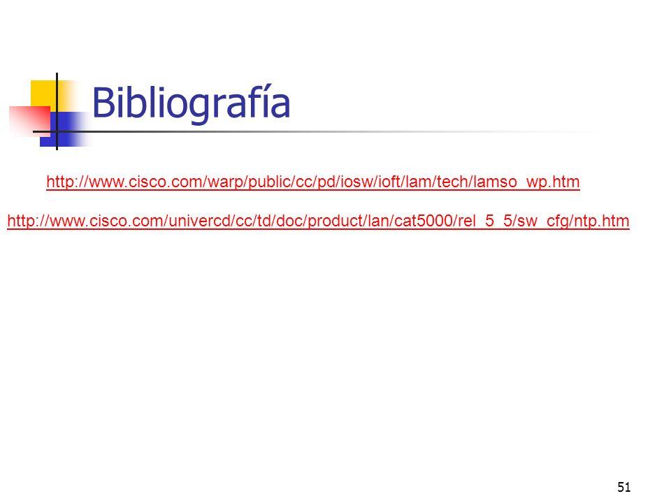 51 Bibliografía http://www.cisco.com/warp/public/cc/pd/iosw/ioft/lam/tech/lamso_wp.htm http://www.cisco.com/univercd/cc/td/doc/product/lan/cat5000/rel
