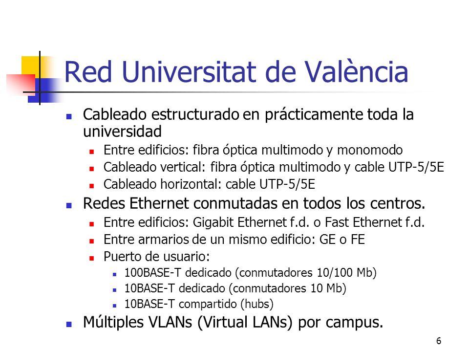 6 Red Universitat de València Cableado estructurado en prácticamente toda la universidad Entre edificios: fibra óptica multimodo y monomodo Cableado v