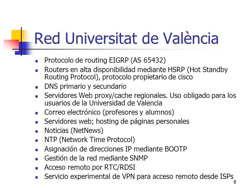 9 Red Universitat de València Protocolo de routing EIGRP (AS 65432) Routers en alta disponibilidad mediante HSRP (Hot Standby Routing Protocol), proto