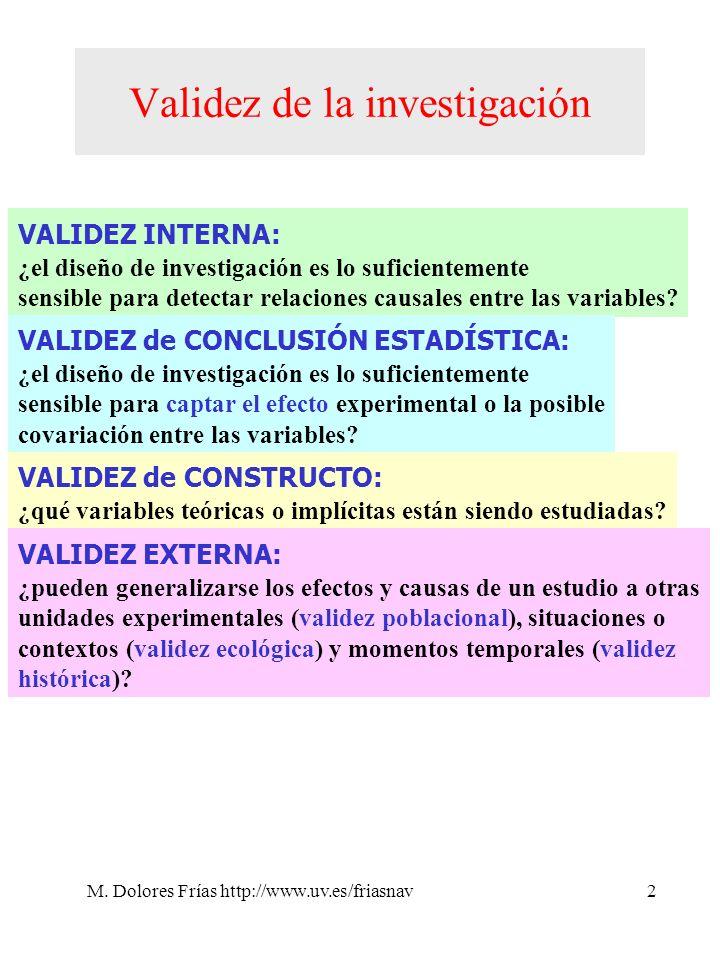 M. Dolores Frías http://www.uv.es/friasnav2 Validez de la investigación VALIDEZ INTERNA: ¿el diseño de investigación es lo suficientemente sensible pa