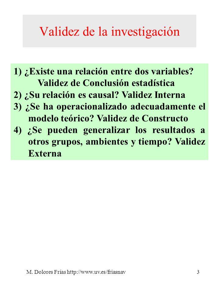 M. Dolores Frías http://www.uv.es/friasnav3 Validez de la investigación 1) ¿Existe una relación entre dos variables? Validez de Conclusión estadística