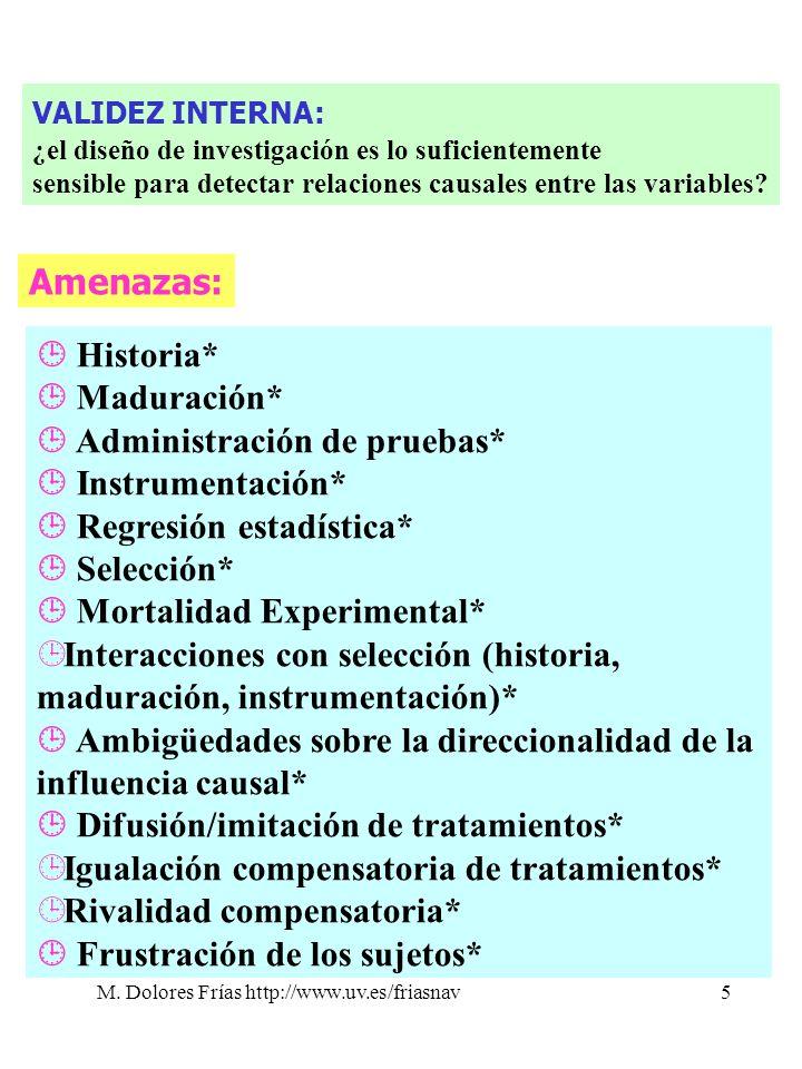 M. Dolores Frías http://www.uv.es/friasnav5 VALIDEZ INTERNA: ¿el diseño de investigación es lo suficientemente sensible para detectar relaciones causa