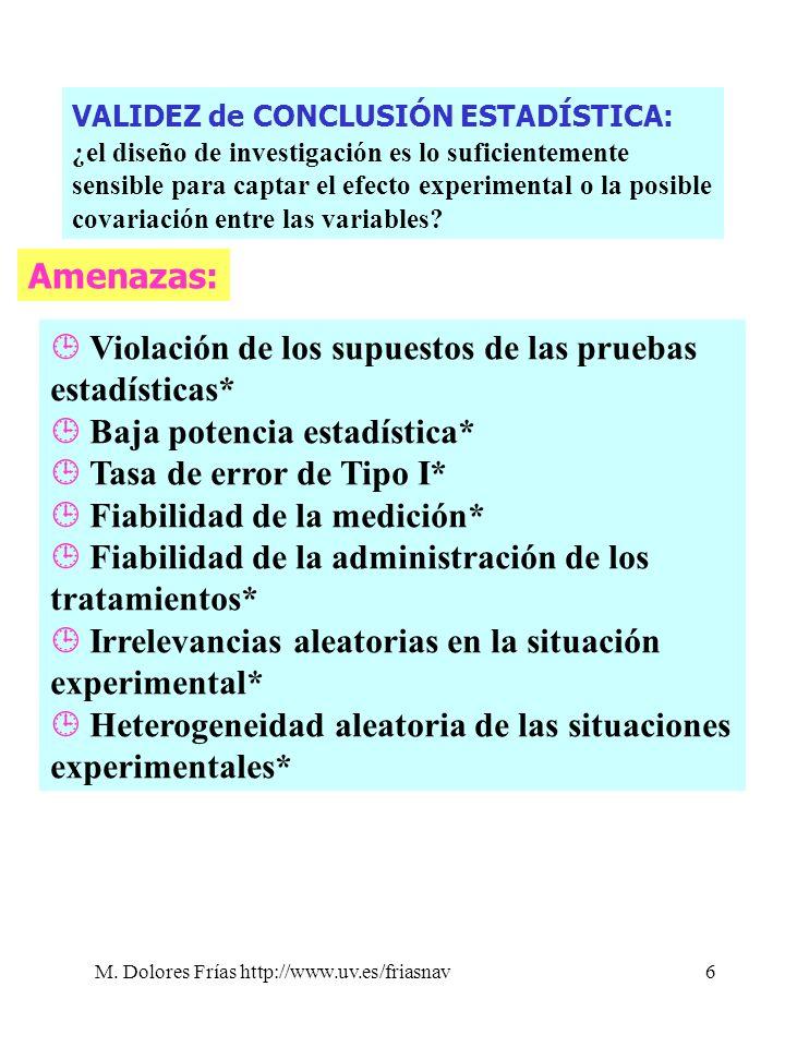 M. Dolores Frías http://www.uv.es/friasnav6 Amenazas: Violación de los supuestos de las pruebas estadísticas* Baja potencia estadística* Tasa de error