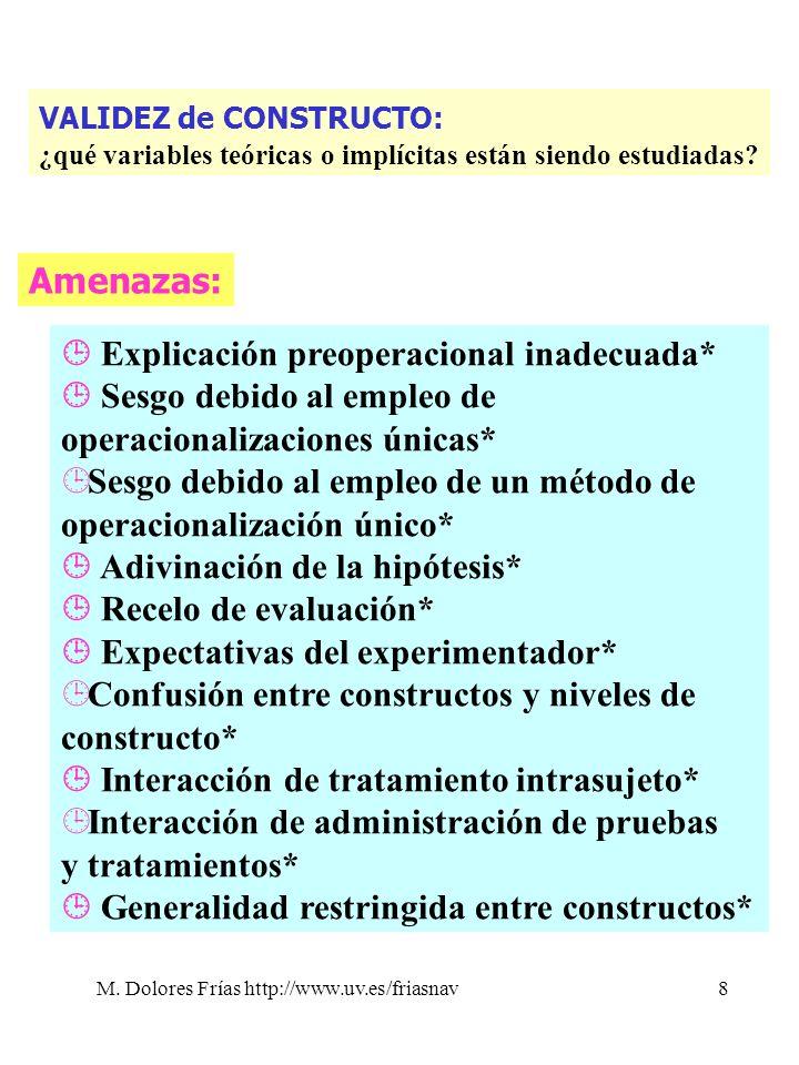 M. Dolores Frías http://www.uv.es/friasnav8 Amenazas: Explicación preoperacional inadecuada* Sesgo debido al empleo de operacionalizaciones únicas* ¹