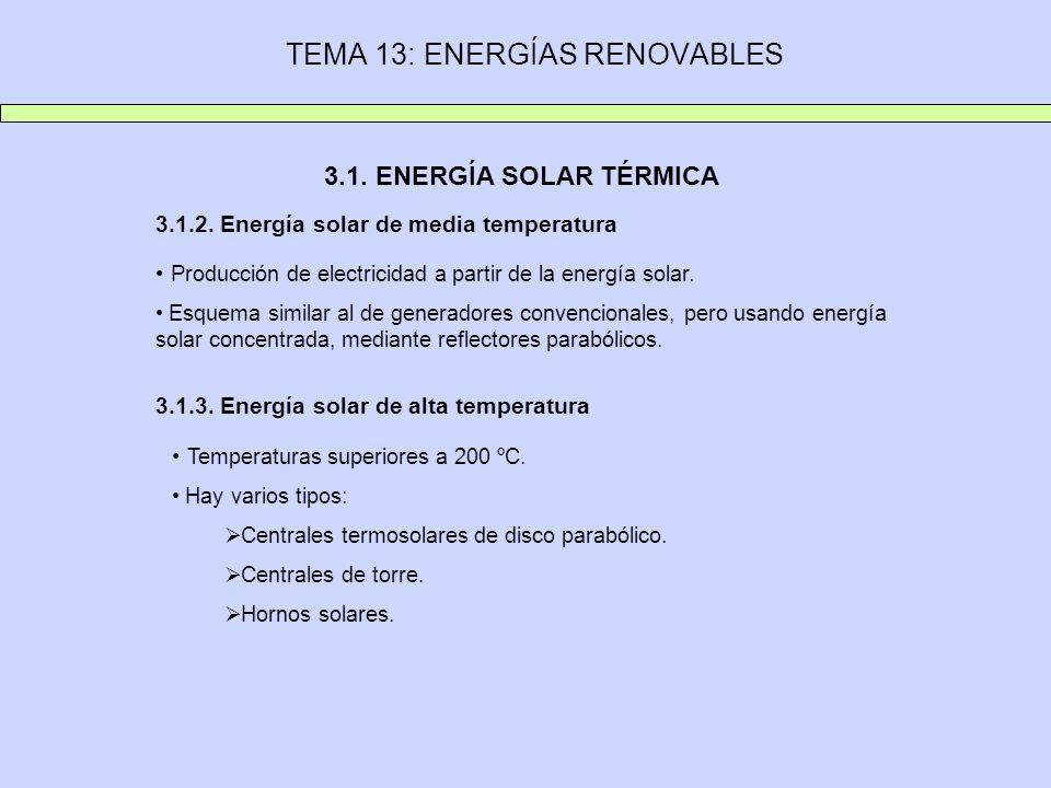 TEMA 13: ENERGÍAS RENOVABLES 3.1. ENERGÍA SOLAR TÉRMICA 3.1.2. Energía solar de media temperatura Producción de electricidad a partir de la energía so