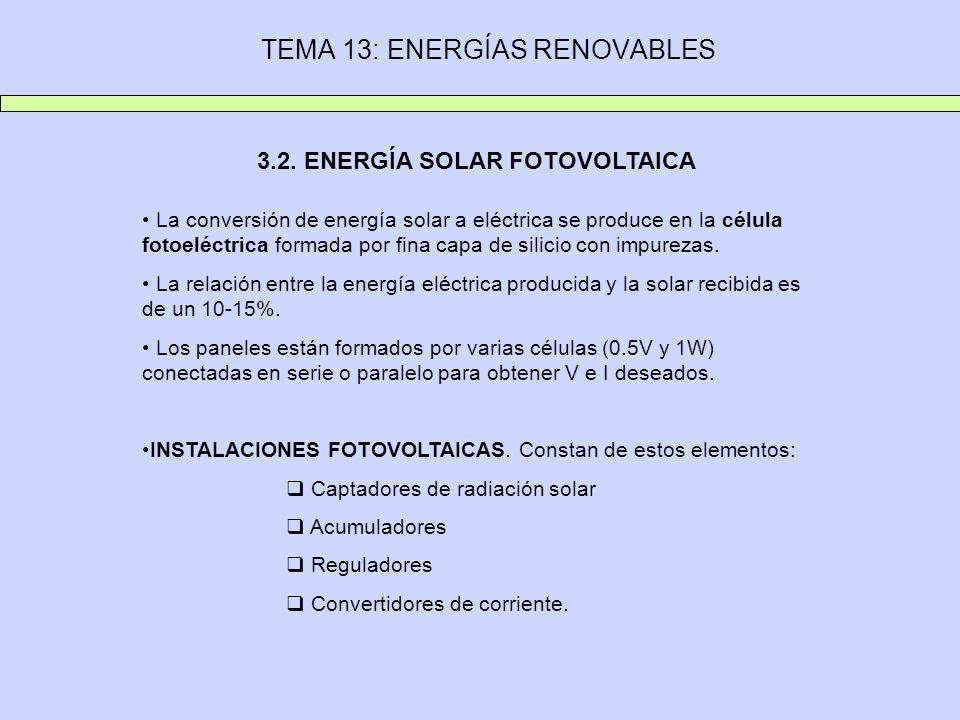 TEMA 13: ENERGÍAS RENOVABLES 3.2. ENERGÍA SOLAR FOTOVOLTAICA La conversión de energía solar a eléctrica se produce en la célula fotoeléctrica formada