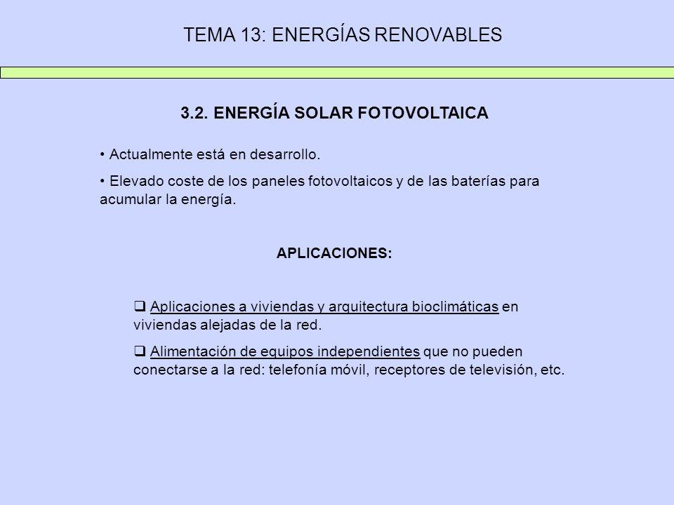 TEMA 13: ENERGÍAS RENOVABLES 3.2. ENERGÍA SOLAR FOTOVOLTAICA Actualmente está en desarrollo. Elevado coste de los paneles fotovoltaicos y de las bater