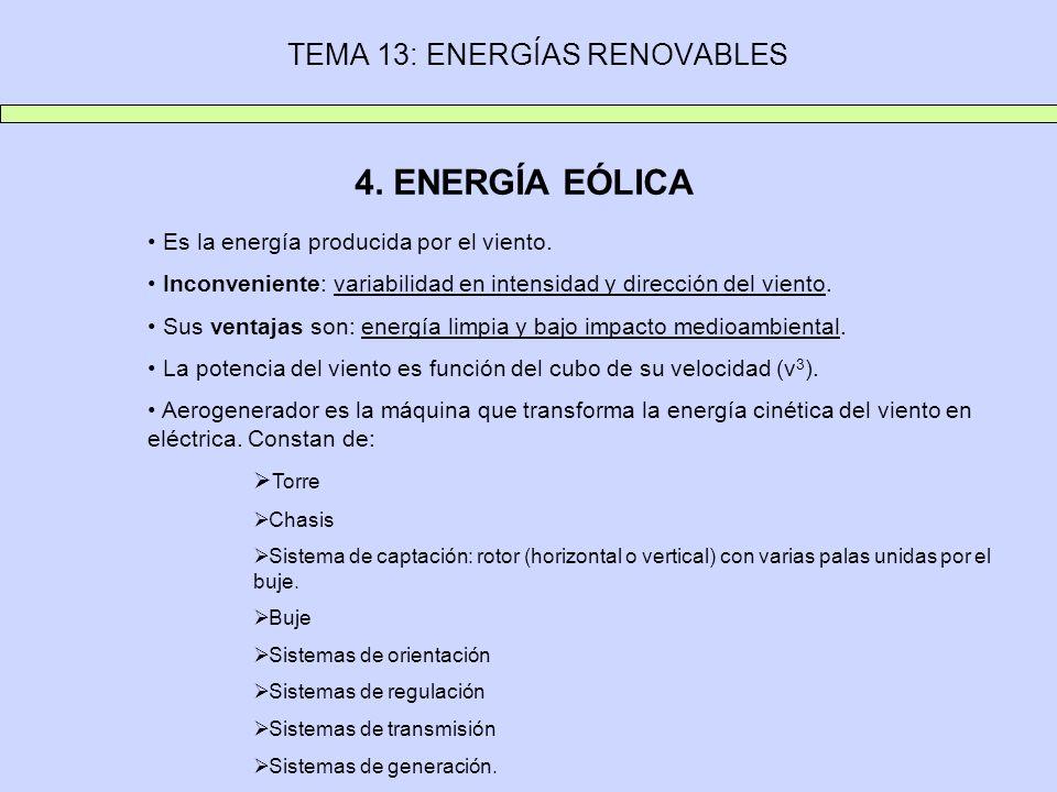 TEMA 13: ENERGÍAS RENOVABLES 4. ENERGÍA EÓLICA Es la energía producida por el viento. Inconveniente: variabilidad en intensidad y dirección del viento
