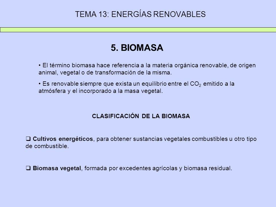 TEMA 13: ENERGÍAS RENOVABLES 5. BIOMASA El término biomasa hace referencia a la materia orgánica renovable, de origen animal, vegetal o de transformac