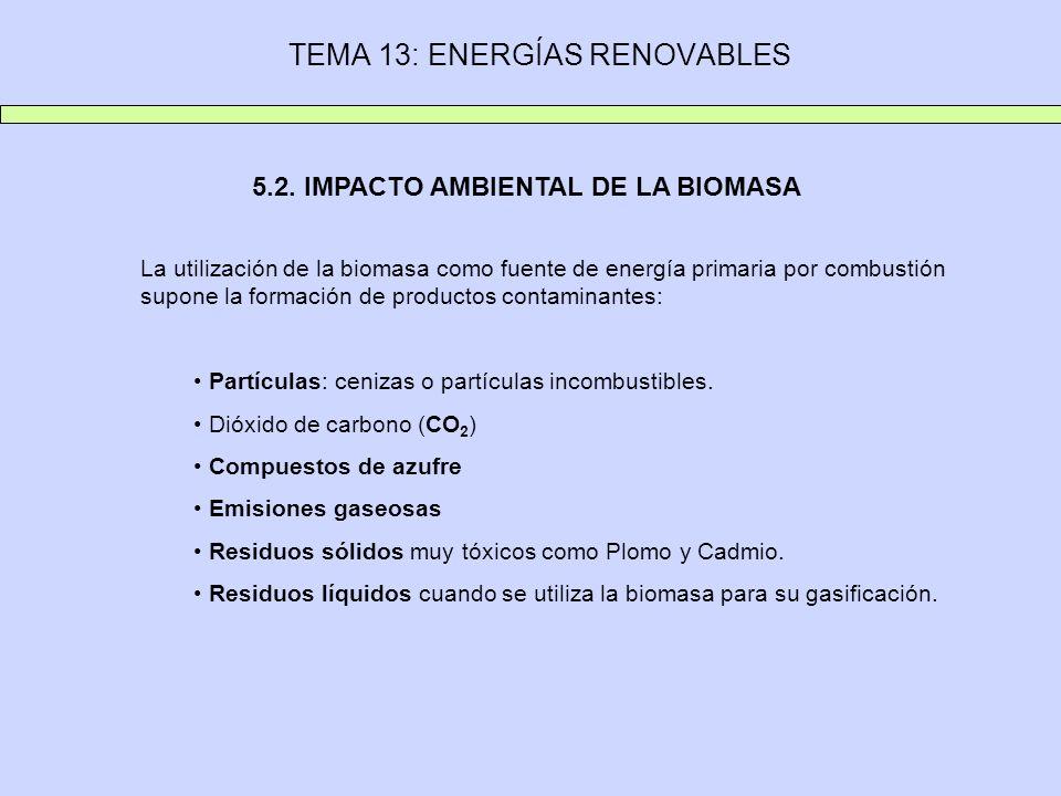 TEMA 13: ENERGÍAS RENOVABLES 5.2. IMPACTO AMBIENTAL DE LA BIOMASA La utilización de la biomasa como fuente de energía primaria por combustión supone l