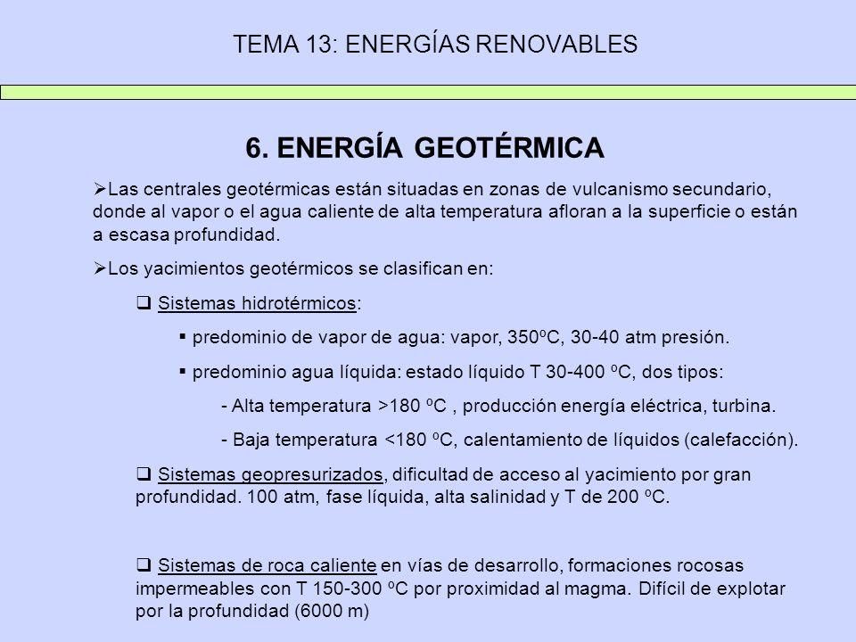 TEMA 13: ENERGÍAS RENOVABLES 6. ENERGÍA GEOTÉRMICA Las centrales geotérmicas están situadas en zonas de vulcanismo secundario, donde al vapor o el agu