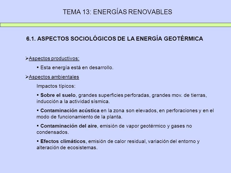 TEMA 13: ENERGÍAS RENOVABLES 6.1. ASPECTOS SOCIOLÓGICOS DE LA ENERGÍA GEOTÉRMICA Aspectos productivos: Esta energía está en desarrollo. Aspectos ambie
