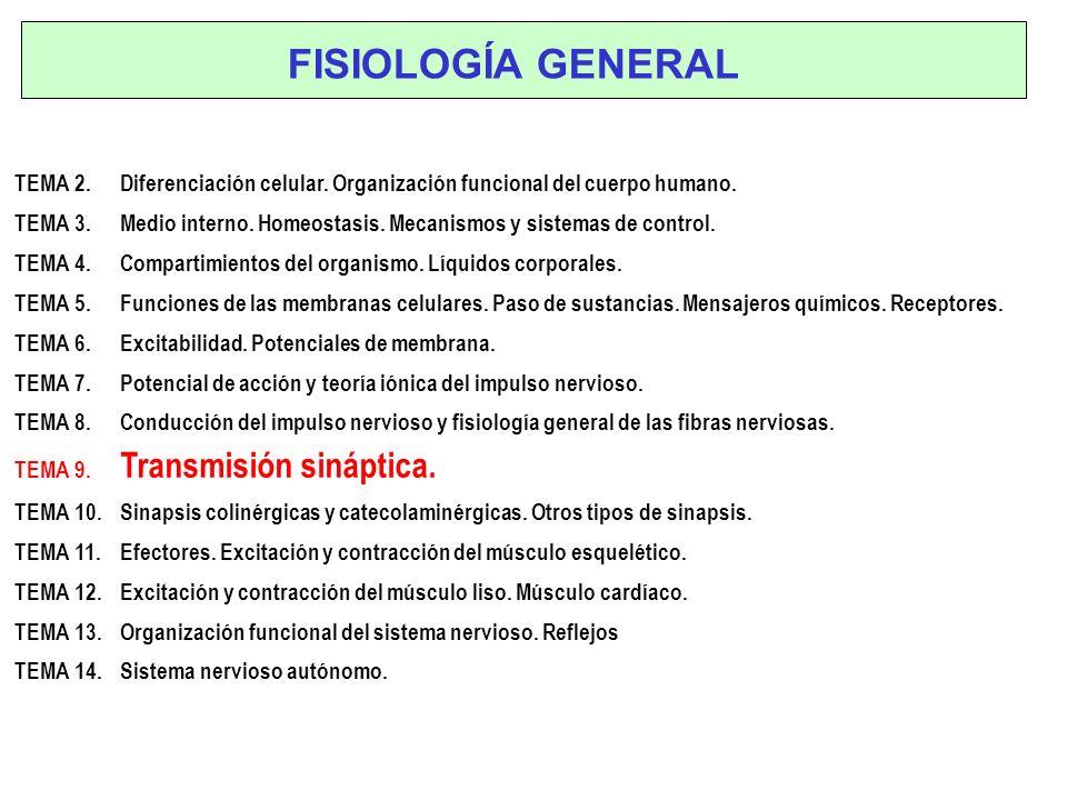 TEMA 2. Diferenciación celular. Organización funcional del cuerpo humano. TEMA 3. Medio interno. Homeostasis. Mecanismos y sistemas de control. TEMA 4