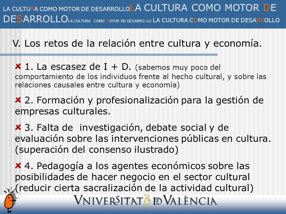 V. Los retos de la relación entre cultura y economía.
