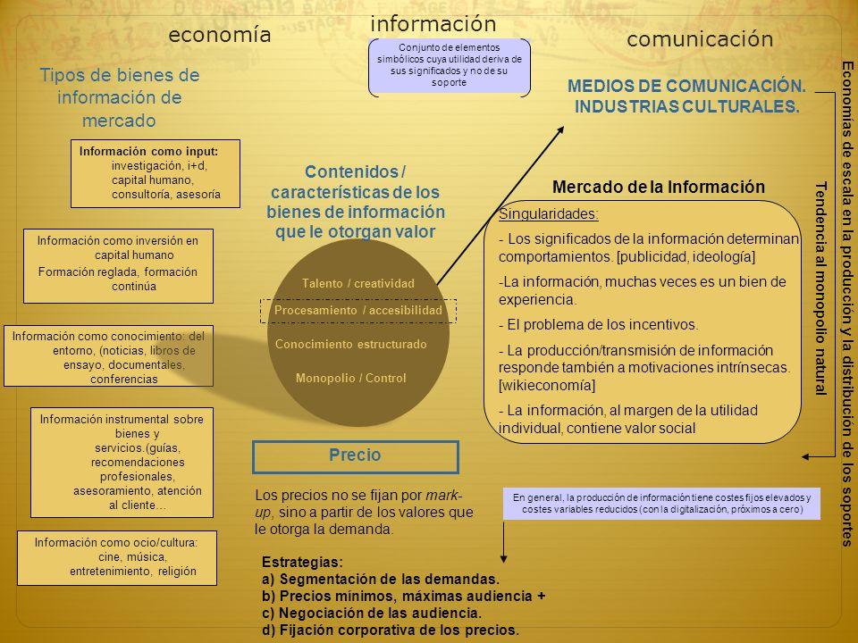 Información como input: investigación, i+d, capital humano, consultoría, asesoría economía información Información como ocio/cultura: cine, música, en