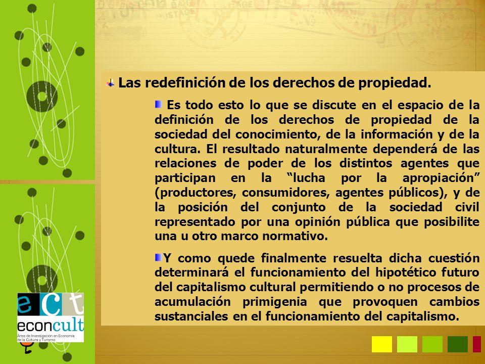 Las redefinición de los derechos de propiedad. Es todo esto lo que se discute en el espacio de la definición de los derechos de propiedad de la socied