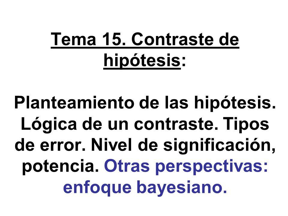 Planteamiento de las hipótesis estadísticas (1) Estamos en el asunto clave para los sucesivos temas, y en todo caso, de interés intrínseco.