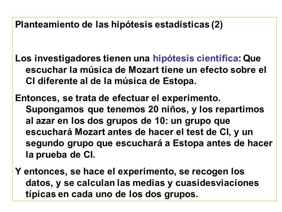 Planteamiento de las hipótesis estadísticas (3) Para simplificar, supongamos que la media del grupo de Mozart fue 110 (cuasidesv.típica=10) mientras que la media del grupo de Estopa fue de 102 (cuasidesv.típica=8).