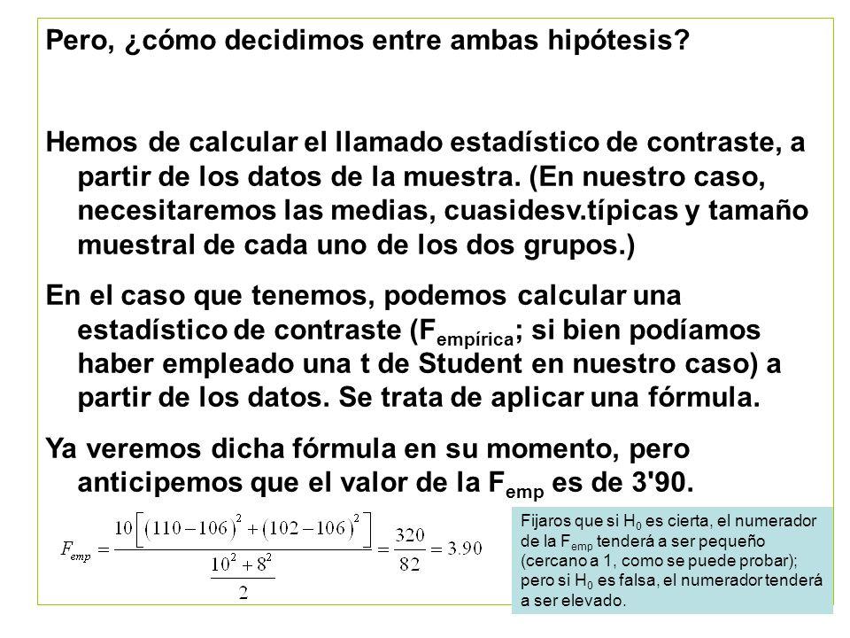 Ya tenemos el valor del estadístico de contraste, pero aún así, ¿cómo decidimos entre ambas hipótesis.