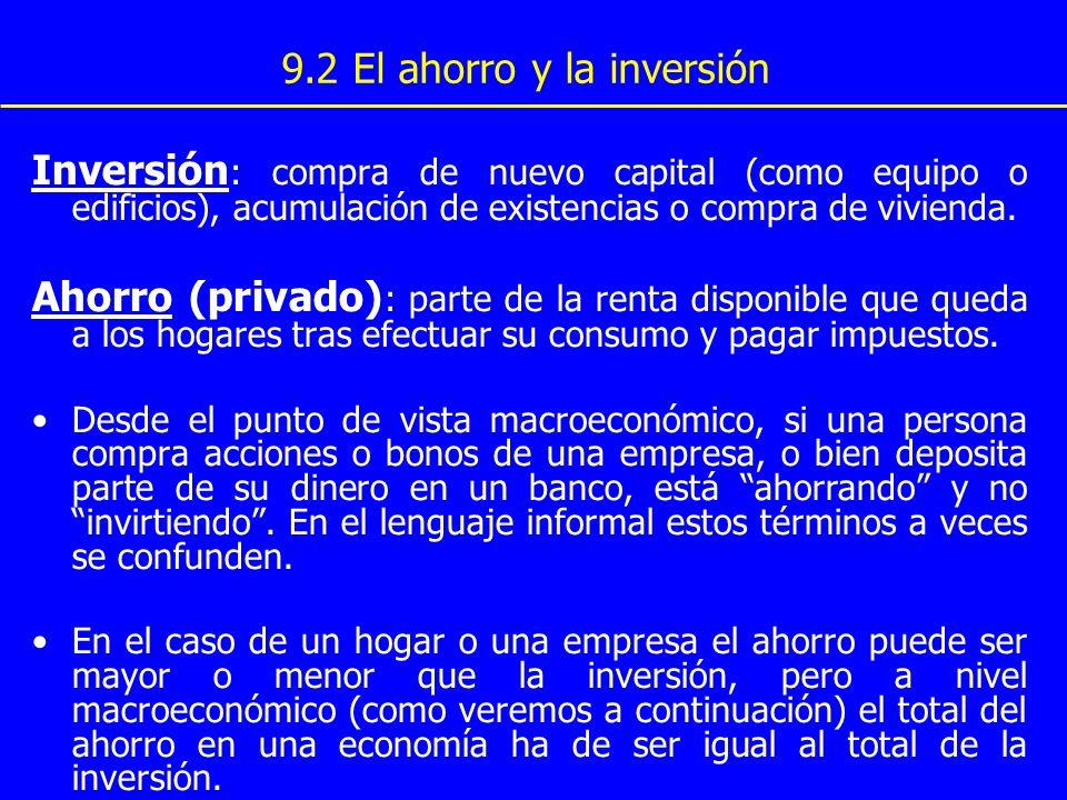 9.2 El ahorro y la inversión Inversión : compra de nuevo capital (como equipo o edificios), acumulación de existencias o compra de vivienda. Ahorro (p
